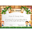 Certificate template for PE award vector image vector image