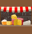 cheese street market store stall vector image vector image