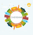 cheyenne skyline with color buildings blue sky vector image vector image