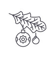 christmas tree branch line icon concept christmas vector image