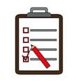 color silhouette cartoon clipboard with checklist vector image