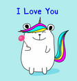 cute bear unicorn say i love you vector image