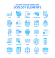 ecology elements blue tone icon pack - 25 icon vector image