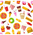 fast food seamless pattern cartoon vector image vector image