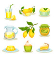 flat set of lemon food and drinks bright vector image