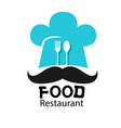 food restaurant logo chef hat mustache background vector image vector image