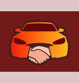 front view of car with handshakes - creative vector image vector image