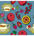 fruit and tea pattern vector image vector image
