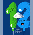funny happy birthday gift card number 12 balloon vector image