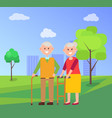 grandparents together on walk at park in summer vector image vector image