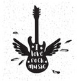 guitar silhouette on a white background vector image vector image