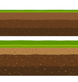 layers of grass with underground layers of earth vector image vector image