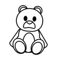 line bear teddy cute toy childhood vector image vector image