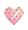 line icons in heart shape heart vector image vector image