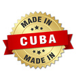 made in Cuba gold badge with red ribbon vector image vector image