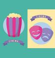 popcorn with masks cinema film vector image