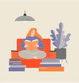 red-haired girl sitting on couch and reading vector image