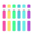 rounded usb flash drives colorful set vector image vector image