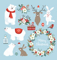 set of cute christmas clip-arts with bunnies vector image vector image
