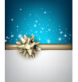shiny holiday background with golden bow vector image vector image
