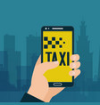 taxi ordering in handphone banner car sharing and vector image vector image