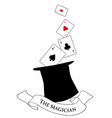 the magician text banner hat with four aces out vector image