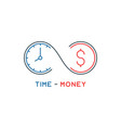 thin line time is money concept vector image