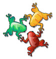 three funny colorful frogs or toads hold each vector image