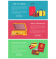 time to travel preparation money and passport vector image vector image