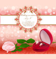 wedding background with a white rose and rings vector image