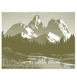 Woodcut mountain lake scene vector | Price: 1 Credit (USD $1)