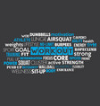 workout sport word cloud concept text is outline vector image vector image