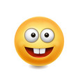 yellow smile face cute icon vector image vector image