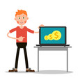 young guy with laptop vector image