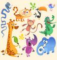 cartoon of tropic wild animals set vector image