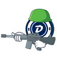 army digibyte coin character cartoon vector image vector image