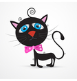 Black Cat Kitten with Blue Eyes and Pink Bow Tie
