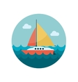 Boat with a Sail flat icon vector image