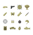 cartoon color army weapons icons set vector image vector image