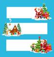 christmas banners xmas gift santa and snowman vector image vector image