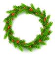 Christmas wreath fir branches red berries of vector image vector image