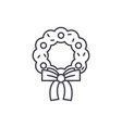 christmas wreath line icon concept christmas vector image vector image