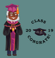 class of 2019 congrats flat colorful poster with vector image