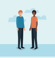 couple of men friends characters vector image vector image