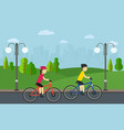 cycling man with woman on bikes ride in city park vector image vector image