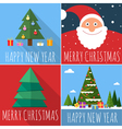 Flat design Christmas card set vector image