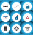 flat icon auto set of warning petrol automatic vector image vector image