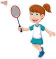 funny girl cartoon playing badminton vector image vector image
