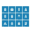 Gift box icons on blue background vector image vector image