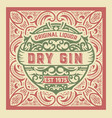 gin label design vintage style vector image vector image